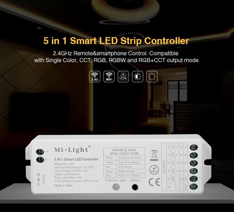 Mi light LS2 5 IN 1 Smart LED Controller RGB+CCT controller For 5050 SMD Led strip light