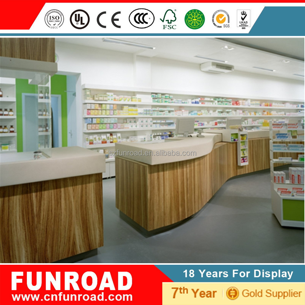 Supermarket wooden cash counter design view cash counter ked product - Free Design Lighting Pharmacy Display Shelf Cash Counter For Medical Store