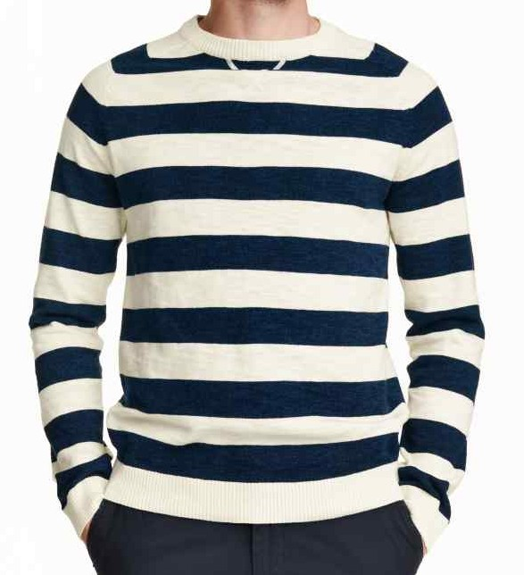 Long Sleeve Crew Neck Knitted Striped Mens Jumpers