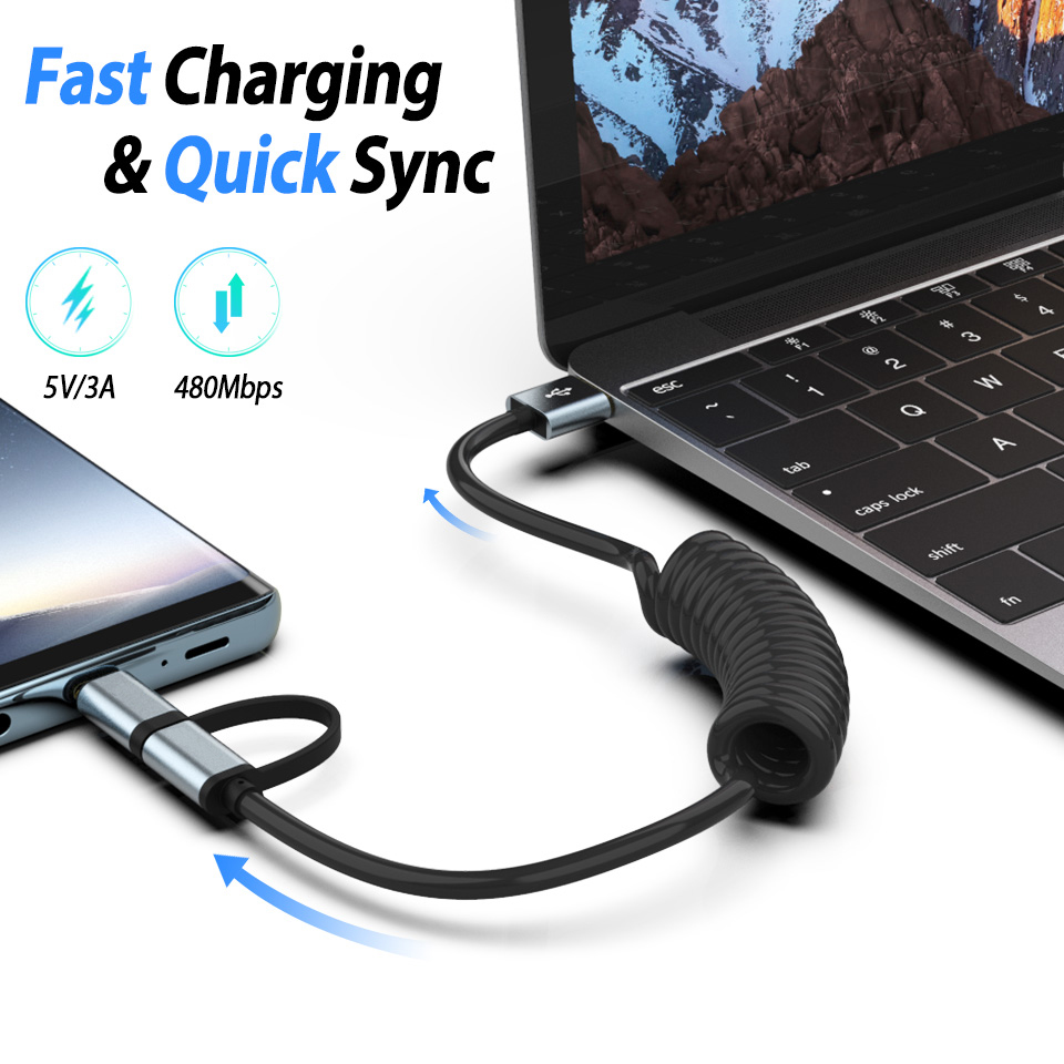 2IN1 Lente Opgerolde Micro USB Type C Oplaadkabel Fast Lading USB Tipo C Data Lead voor Xiaomi Mi 8 SE 6 Mix 2 S Max 2 Note 3 A1