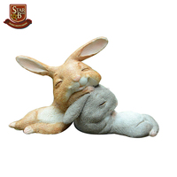 Everyday collection bunny rabbits resin fairy garden miniatures rabbits head by head figurines for easter day gift