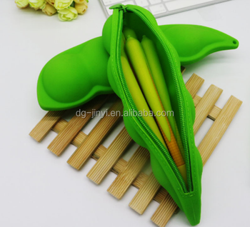 Pea shape silicone pencil case wholesale from China factory