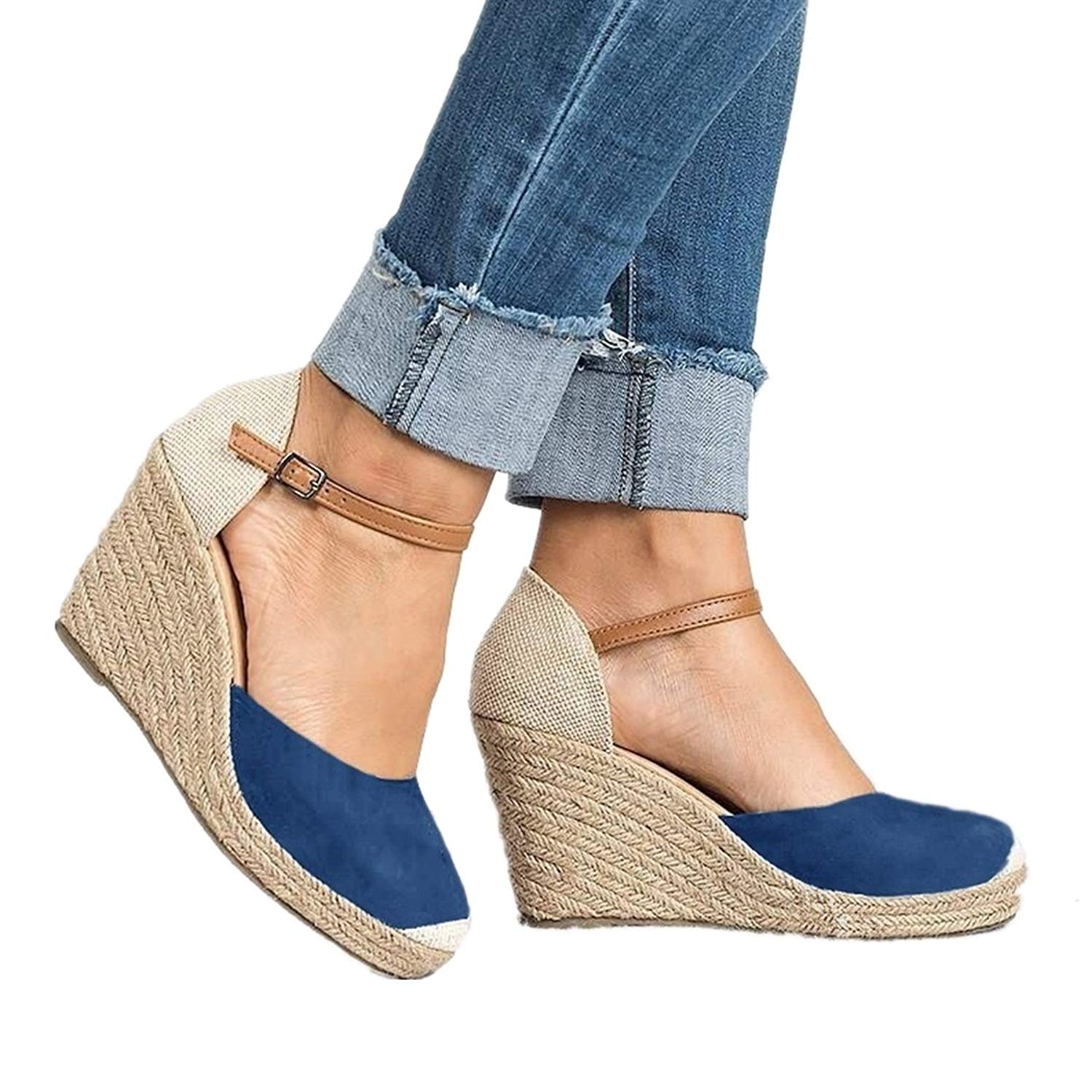 6008a9c93c9 Get Quotations · Hawaoo Womens Wedge Sandals Espadrilles Heels Ankle Strap Closed  Toe Suede Wedge Wedding Sandal