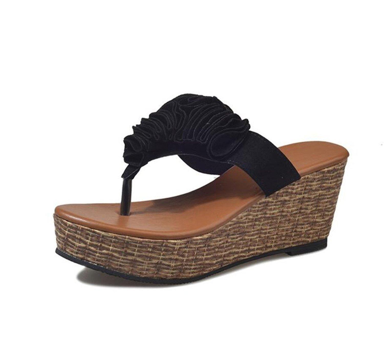 8628d84ce Get Quotations · DANDANJIE Womens Summer Flip Flops Clip Toe Beach Holiday Sandals  Wedge Heel Flip Flops Thongs (