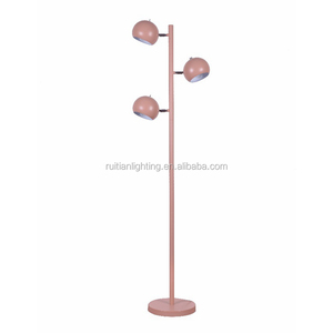 small round cap stand CE/ROHS guestroom deft design 3-light pink floor lamp