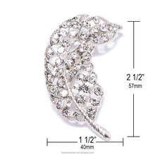 Wholesale Rhinestone Leaf Feather Wedding Bling Brooch