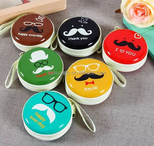 Round Coin Purse Earphone Change Purse Metal mini coin holder