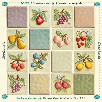 Hand Painted Fruit Design Wall Relief Tile Kitchen Decoration