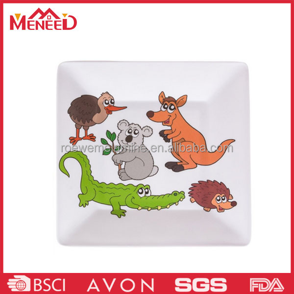 Melamine plastic animal pattern printing novelty new design decal square dinnerware plate