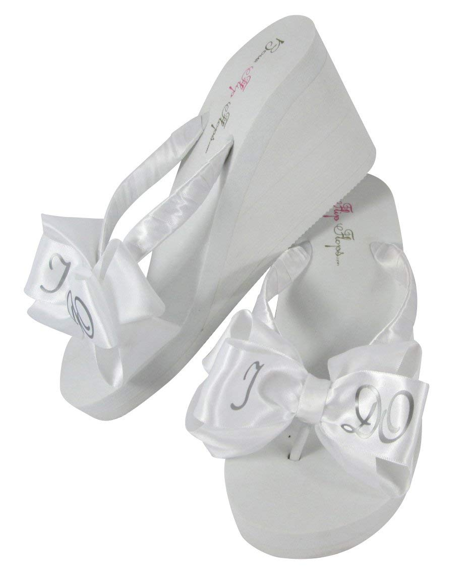 524f70baa631 Ivory I Do Silver Satin Bow Bridal Flip Flops for the Wedding in 3.5 inch  high Wedge
