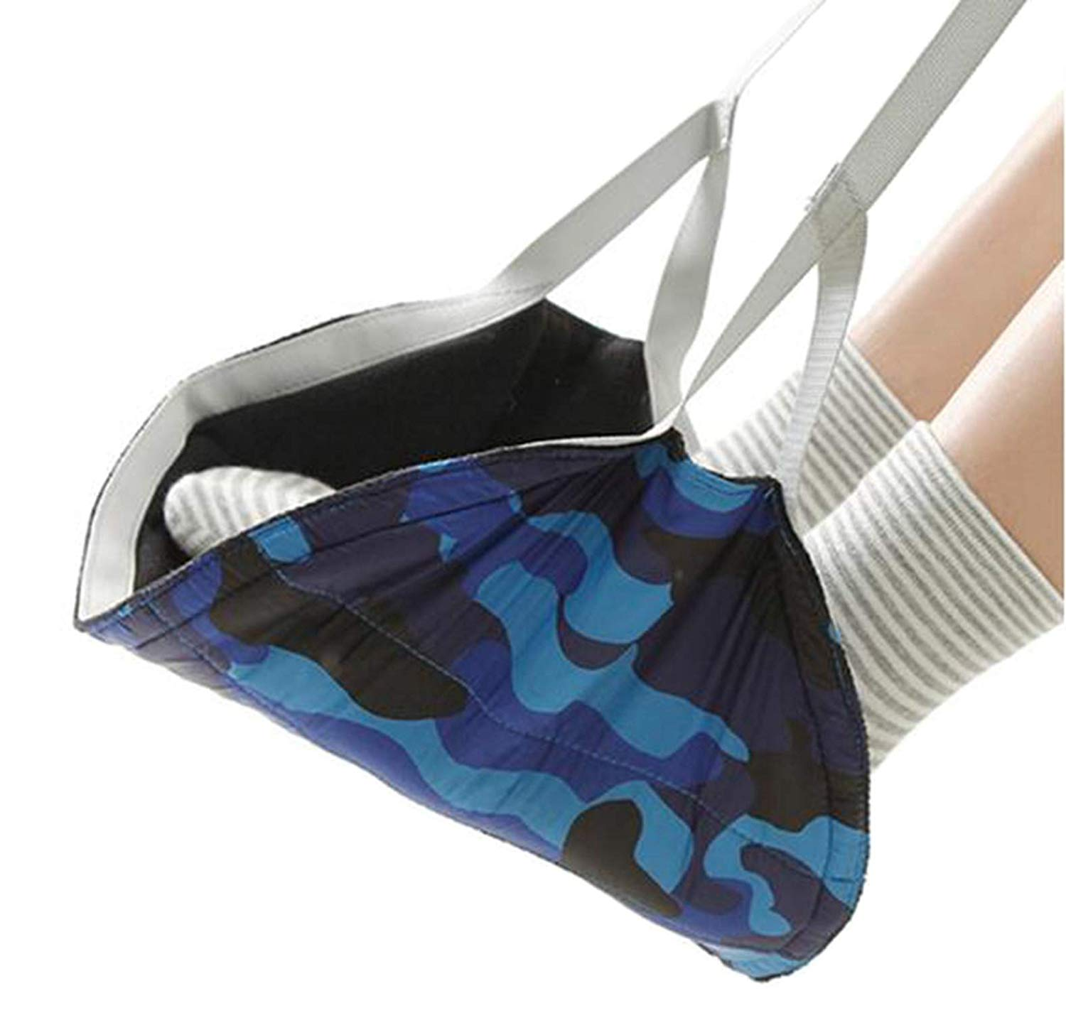 Travel Airplane Portable Foot Rest,Fukalu Feet Hammock Swing and Hang Feet [Preventing Leg Swelling] Plane Footrest, Adjustable Height Portable Travel Foot Rest for Airplane Office (Camo Blue)