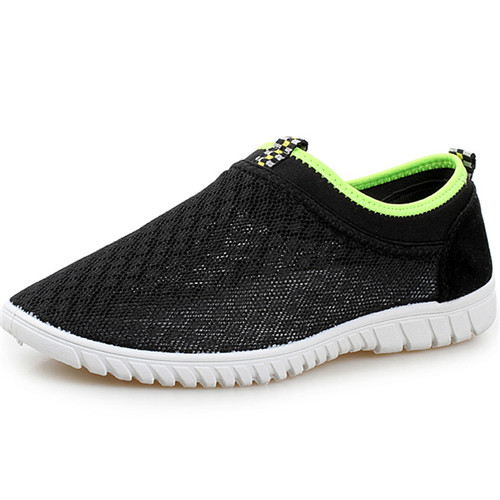 2015 Hot Men Sneakers Shoes Brand Casual Breathable Mesh Man Flat Running Shoes Slip On Fashion Sports Summer Black Size 38-44