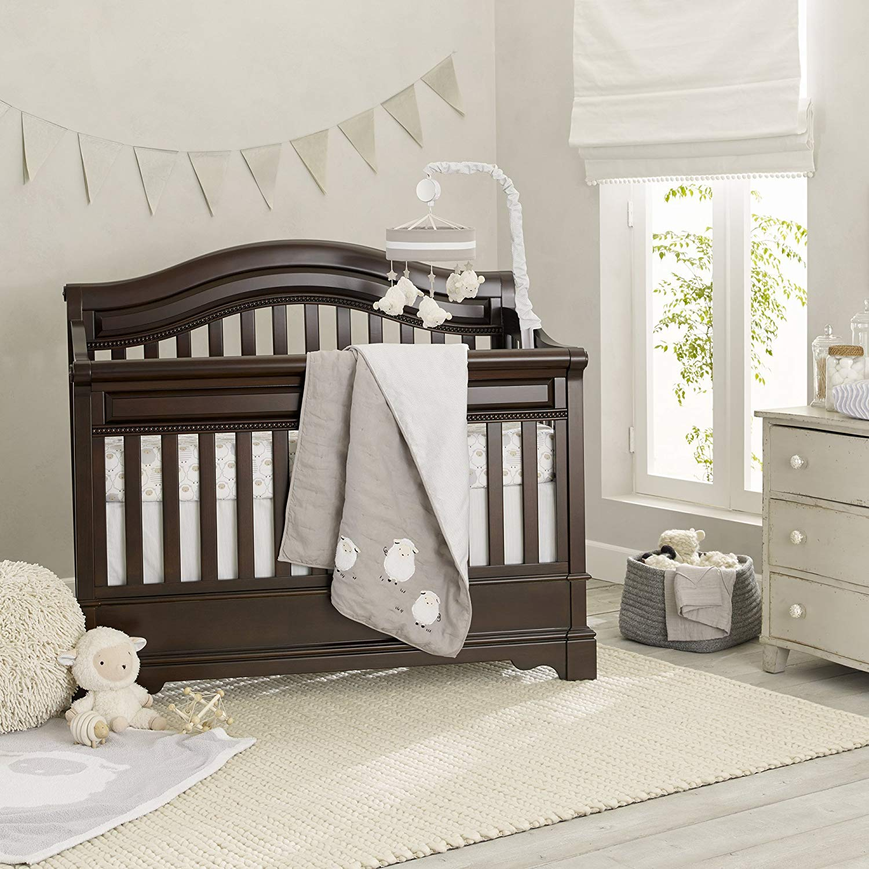 Lambs & Ivy Goodnight Sheep 6-Piece Crib Bedding Set - Gray/White