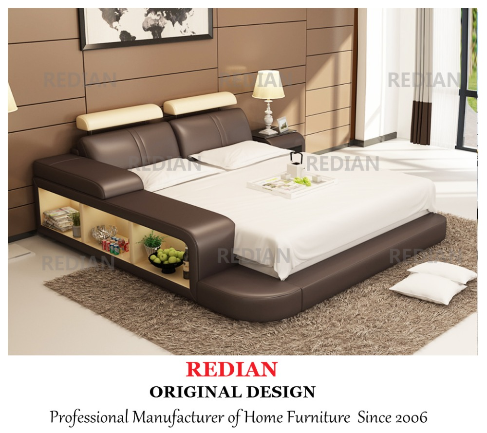 Latest Double Leather Bed Modern