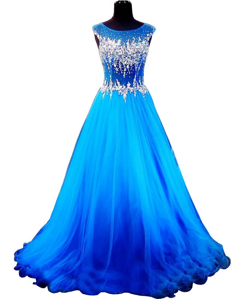 Brilliant-Blue-Ball-Gown-High-Illusion-Neckline-Keyhole ...  Brilliant-Blue-...