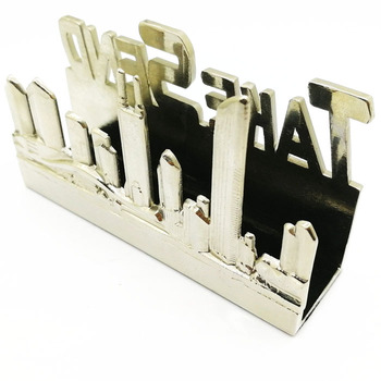 Customized desktop souvenir and gift metal business card holder with enamel logo