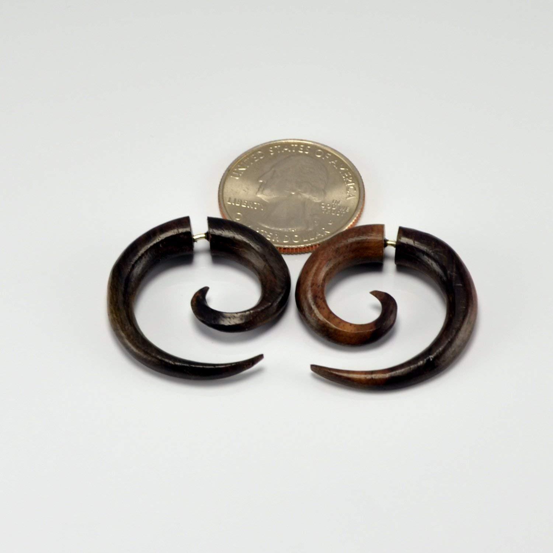 JewelryVolt Pair Organic Tribal Floral Leaf Carved Sawo Wood Ear Hanging Hook Plugs Gauges