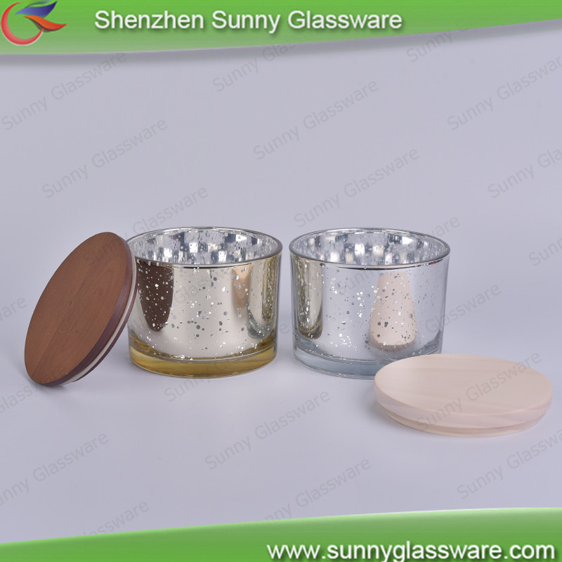 12oz mercury glass candle container with wood lid
