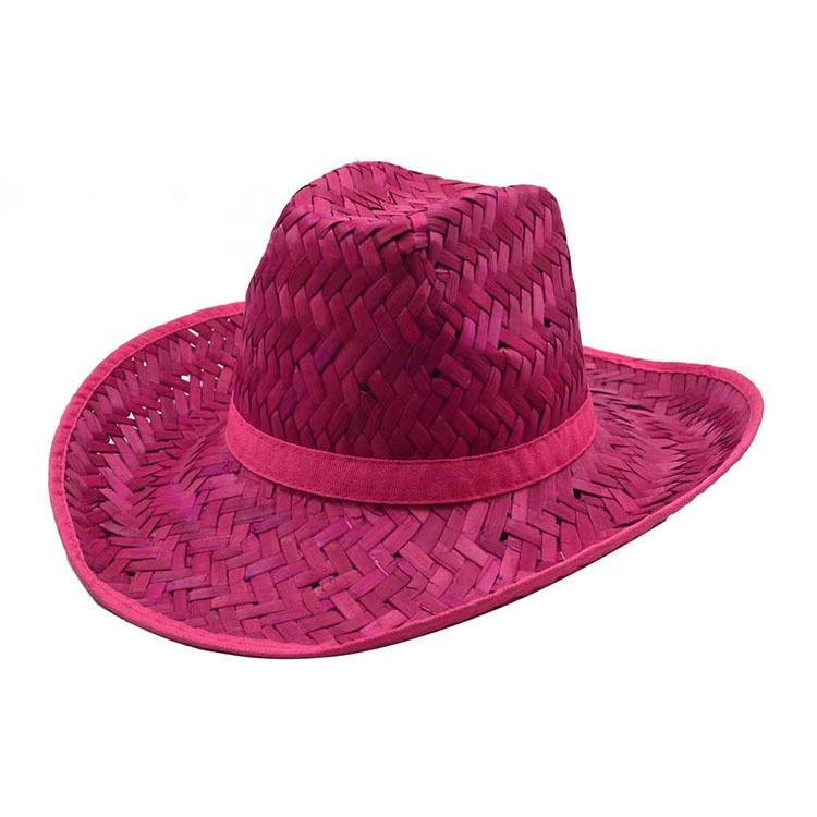 最新の女性赤のウエスタンスタイルのウールレディースカウボーイ帽子