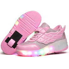 Children Heelys High Quality Skates Boy & Girl Automatic One Wheel Shoes Kids With LED Lighted Flashing Sneakers Roller Shoes