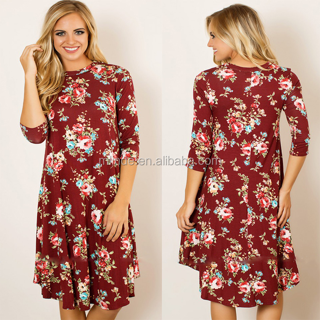 Wholesale Custom Design Women Fashion Summer Floral Printed Long Sleeve Rayon Knit Retro Style Vintage Midi Dresses