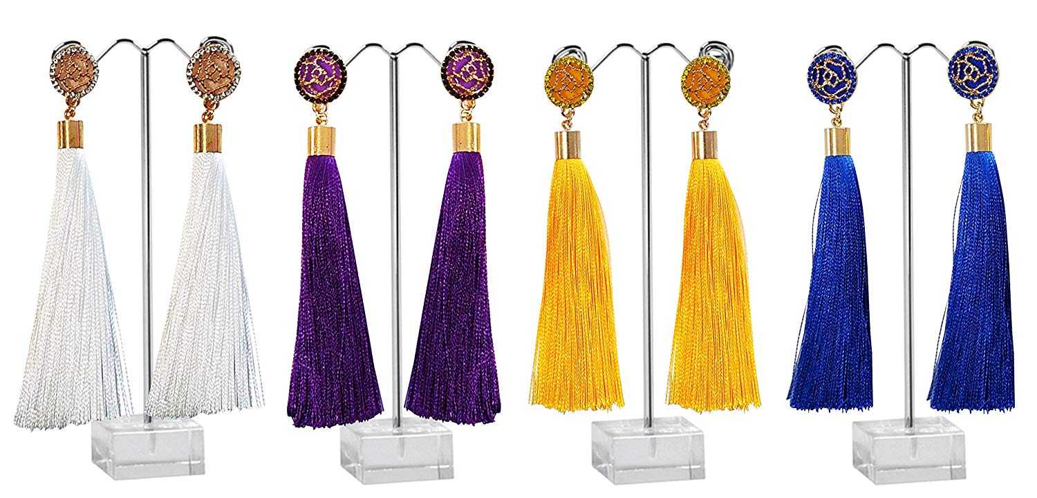 AZUMARAO Bohemian Long Thread Tassel Earrings - Set of 4 Pairs - White, Royal Blue, Yellow and Purple - Gold Plated Zinc Alloy and Crystal Rhinestone
