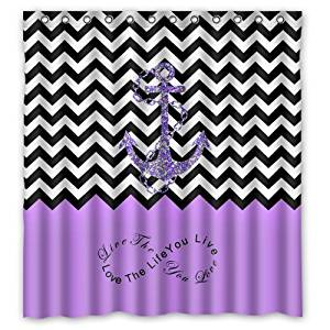 "66""(Width) x 72""(Height)Stylish Lovely Purple Infinity Colorblock Chevron Zigzag Pattern with Nautical Anchor Pattern Bathroom Shower Curtain S ,Infinity Live the Life You Love, Love the Life You Live (New Polyester) - Comfortable Life Bathroom Exclusive"
