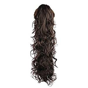 "Synthetic Hairpieces - TOOGOO(R) 25.6"" Long Claw Clip Drawstring Ponytail Fake Hair Extensions False Hair Pony Tails Horse Tress Curly Synthetic Hairpieces Pieces Dark Brown"