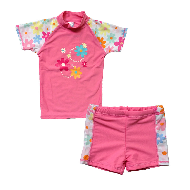 86c52bca83f7a Get Quotations · Free shipping Girl Swimwear Kids Toddler Swimsuit UPF 50  Sunsuit UV Protective Short Sleeves One-