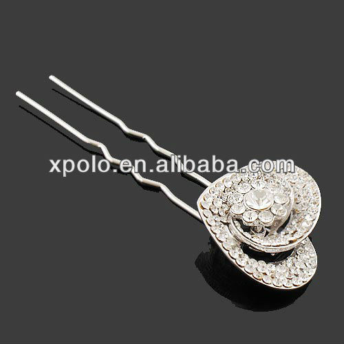 clear rhinestone/white gold plated/heart shaped/zinc alloy/hair pins for girl