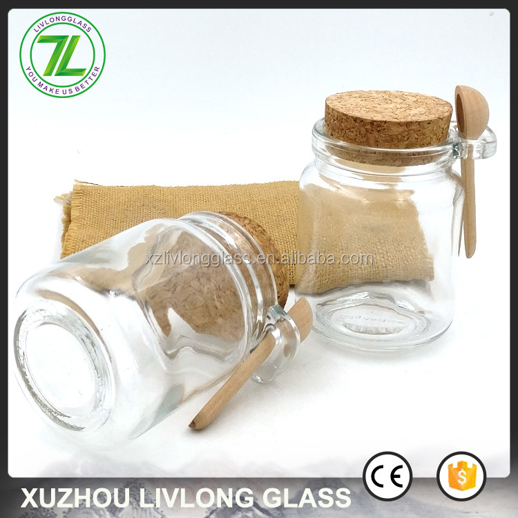 foods and honey use 250ml 8oz storage glass jar with wood spoon and cork lids