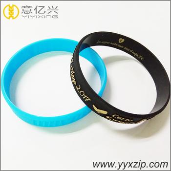 Gold Embossed Logo Printing Rubber Wristband Custom Silicone Bracelets