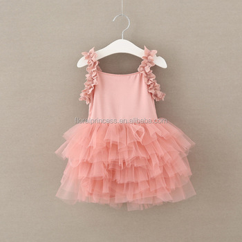 340a44a274 2017 Kids Girl Nude Sleeveless Petal Princess Party Dress Korean Style  Pretty Girl Pink Slip Cake