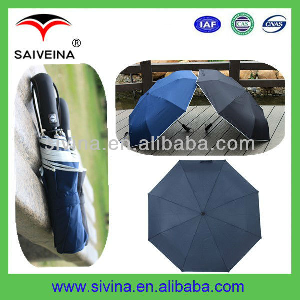 21 Inches 8 Ribs Auto Open And Close 3 Folding Teflon Umbrella