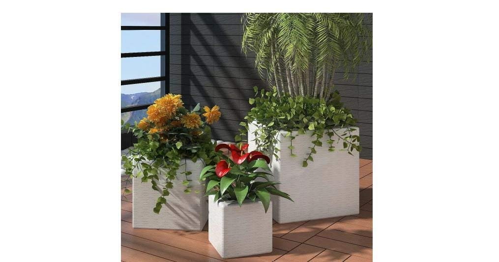 Garden Square Rattan Planter Set 3 Pieces Steel Frame Weatherproof White Comfyleads