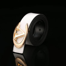 Top fashion trendy style white pu leather alloy belt for man