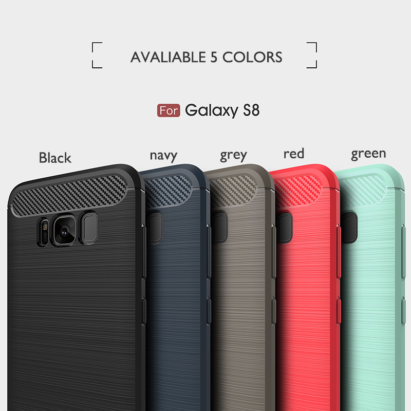 Best Selling Mobile Phone Case For Samsung Plus S8 tpu Case, For Galaxy S8 Plus Brush Carbon Fiber Silicone cover
