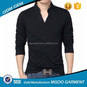 75b11e5cc3 Negro Polo camisetas completa mangas camisetas para hombres diseñador negro  Polo V manga larga Camisetas cuello