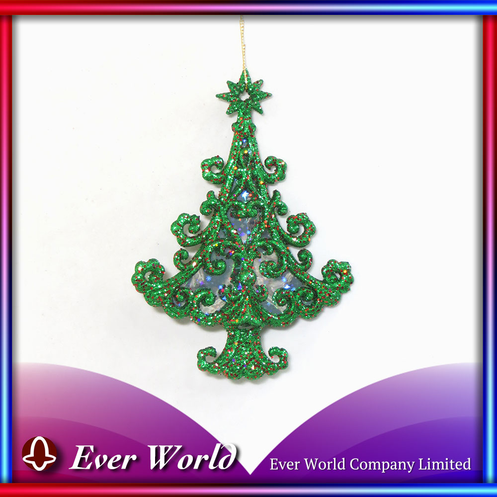 Fancy And Adorable Holiday Season Decorating Christmas Plastic Green/Red Glitter Curled Tree