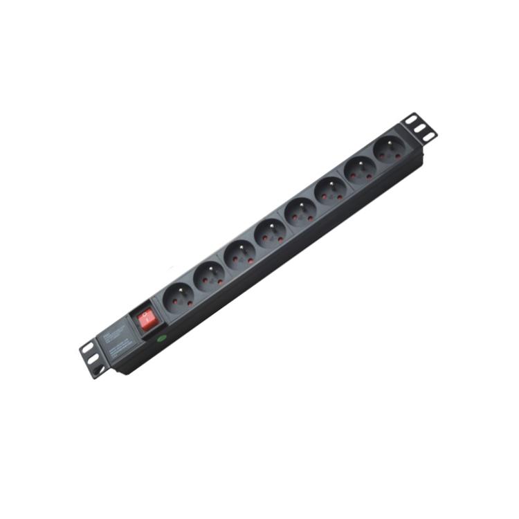 19 дюймов французский тип 16A 1U 8 способов мониторинга стойки крепления PDU с мастер-переключателем