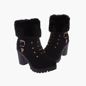 Winter martin buckle boots metal ornament keep warm ankle high chunky heel boots