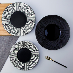 Fine restaurant matte black ceramic plate porcelain tableware for dinner