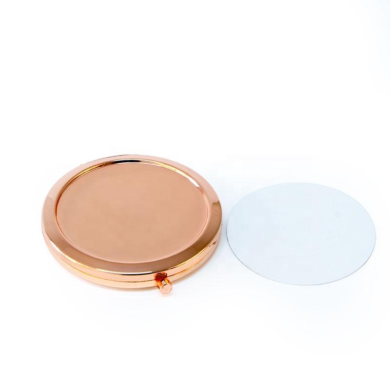 Rose gold Sublimation Custom Logo Folding Travel Metal DIY Compact Mirror