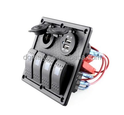 5 Gang Rocker LED Schalttafel 2 USB Steckdose für Auto Boot