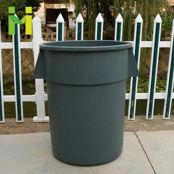 Gray Half Round Lldpe Trash Can
