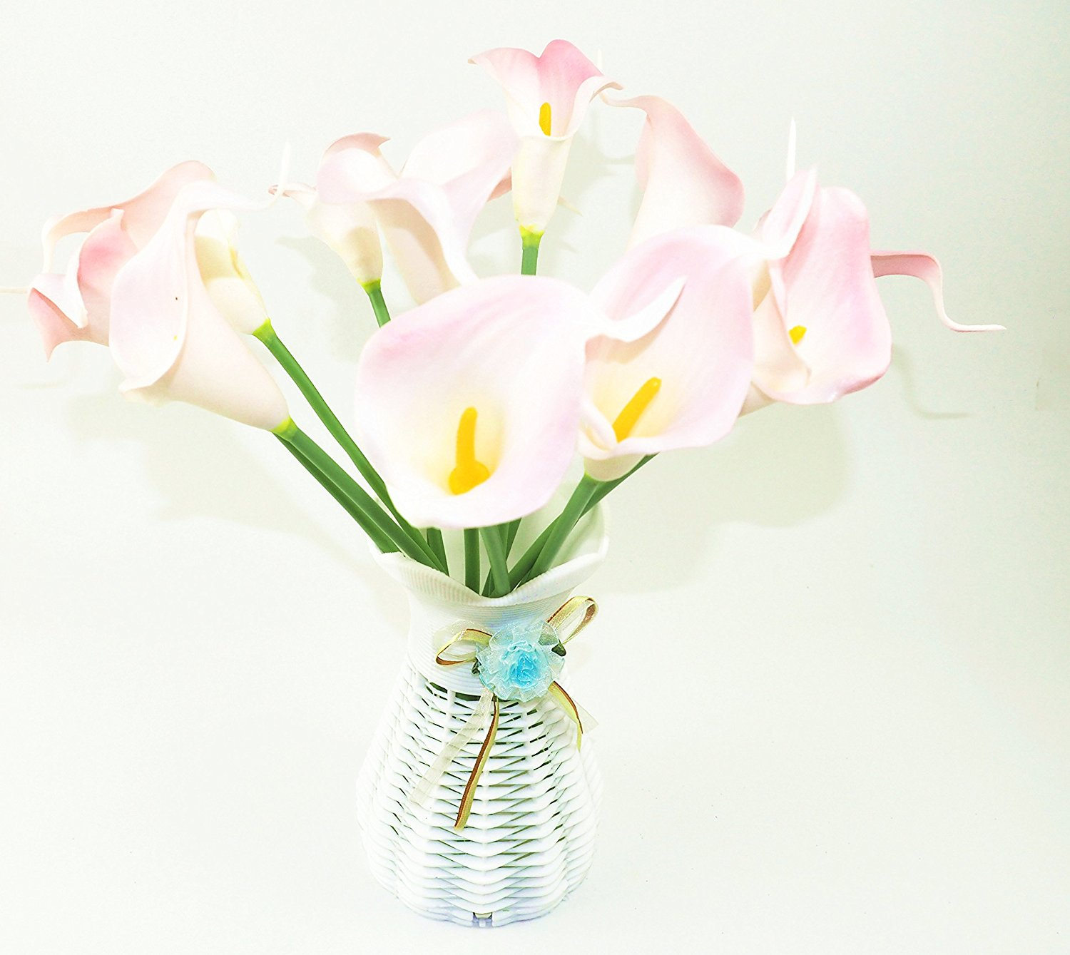 Buy pink flower crown for music festival wedding accessory crown st park 12pcs calla lily bridal wedding bouquet head latex real touch flower bouquetsweddingroomfestival decoration light pink izmirmasajfo