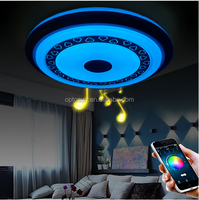 Modern Surface Mounted Dimmable RGBW Lamp Fixture Round Color Changing LED Ceiling Light With Sleep Timer Bluetooth Speaker