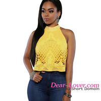 2016 Turtleneck Sleeveless Ladies Yellow Embroidered Luxe crop tops manufacturers