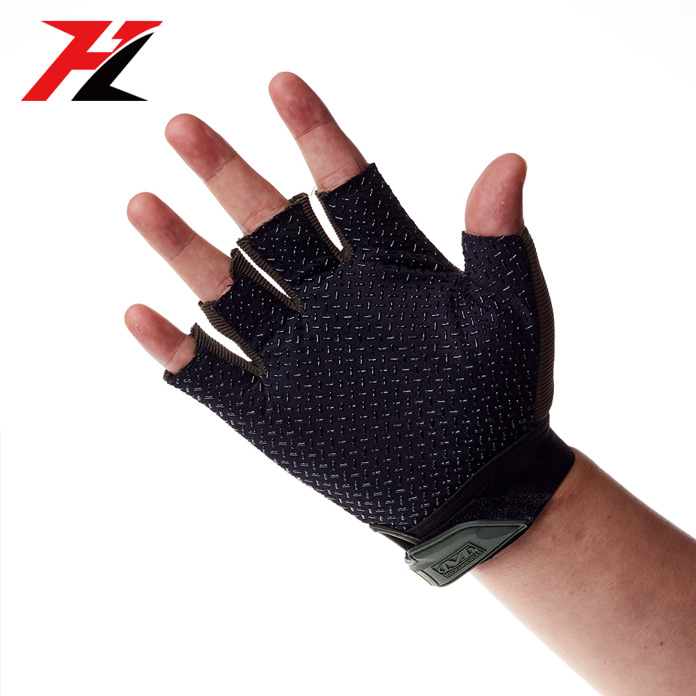 Ejército Fan táctica media dedo guantes antideslizante bicicleta transpirable a prueba de golpes a prueba guantes de ciclismo