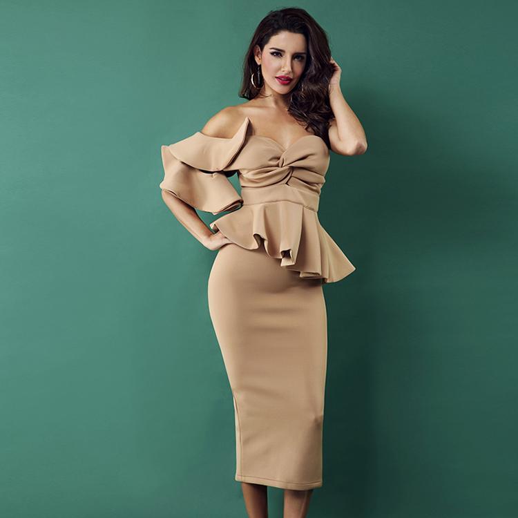 Alibaba.com / Women 2018 Sexy Bodycon Sets One Shoulder Ruffles Short Sleeve Strapless Club Dress Vestidos Celebrity Evening Party Dress